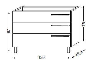 Meuble sous table HALO chêne massif avec LED pour vasque à droite poignée bois 120 cm - 3x1 tiroir - SANIJURA Réf. 115698