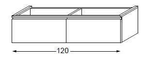 Meuble sous table HALO chêne massif avec LED pour vasque à droite poignée intégrée 120 cm - 2 tiroirs - SANIJURA Réf. 115740