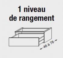 Meuble sous table HALO chêne massif avec LED pour vasque à droite poignée intégrée 140 cm - 2 x 1 tiroir - SANIJURA Réf. 115744