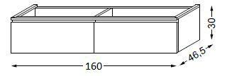 Meuble sous table HALO chêne massif avec LED pour vasque à droite poignée intégrée 160 cm - 2 x 1 tiroir - SANIJURA Réf. 115747