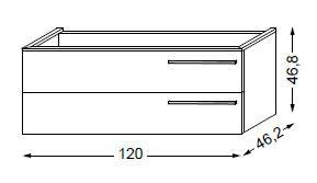 Meuble sous table HALO chêne massif avec LED pour vasque à gauche poignée bois 120 cm - 2x1 tiroir - SANIJURA Réf. 115597