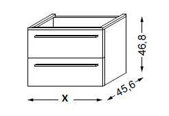 Meuble sous table HALO chêne massif sans LED poignée bois 80 cm - SANIJURA Réf. 115500