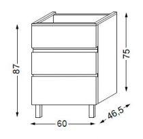 Meuble sous table HALO chêne massif sans LED poignée intégrée 60 cm - SANIJURA Réf. 115820