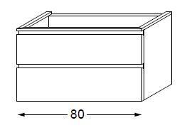 Meuble sous table HALO chêne massif sans LED poignée intégrée 80 cm - SANIJURA Réf. 115761