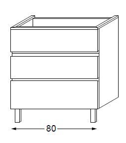 Meuble sous table HALO chêne massif sans LED poignée intégrée 80 cm - SANIJURA Réf. 115821