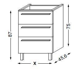 Meuble sous table HALO chêne massif sans LED poignée intégrée 90 cm - SANIJURA Réf. 115822