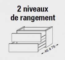 Meuble sous table HALO chêne massif sans LED pour double vasque poignée bois 120 cm - 2x1 tiroir - SANIJURA Réf. 115508