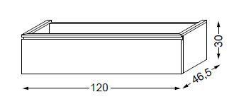 Meuble sous table HALO chêne massif sans LED pour double vasque poignée intégrée 120 cm - 1 tiroir - SANIJURA Réf. 115705