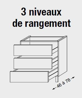 Meuble sous table HALO chêne massif sans LED pour monovasque poignée bois 120 cm - 3x1 tiroir - SANIJURA Réf. 115512