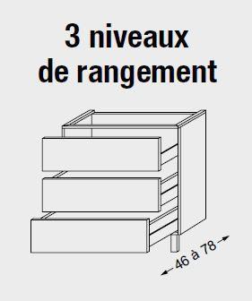 Meuble sous table HALO chêne massif sans LED pour monovasque poignée intégrée 120 cm - 3x1 tiroir - SANIJURA Réf. 115824