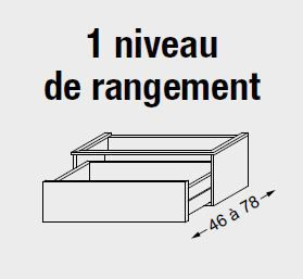 Meuble sous table HALO chêne massif sans LED pour monovasque poignée intégrée 140 cm - 2 x 1 tiroir - SANIJURA Réf. 115712