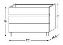 Meuble sous table HALO chêne massif sans LED pour vasque à droite poignée intégrée 120 cm - 3x1 tiroir - SANIJURA Réf. 115826