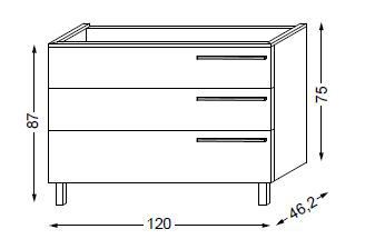 Meuble sous table HALO chêne massif sans LED pour vasque à gauche poignée bois 120 cm - 3x1 tiroir - SANIJURA Réf. 115691