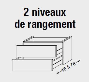 Meuble sous table HALO chêne massif sans LED pour vasque à gauche poignée intégrée 120 cm - 2x1 tiroir - SANIJURA Réf. 115767