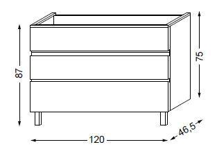 Meuble sous table HALO chêne massif sans LED pour vasque à gauche poignée intégrée 120 cm - 3x1 tiroir - SANIJURA Réf. 115827