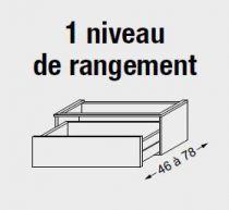 Meuble sous table HALO chêne massif sans LED pour vasque à gauche poignée intégrée 140 cm - 2 x 1 tiroir - SANIJURA Réf. 115715