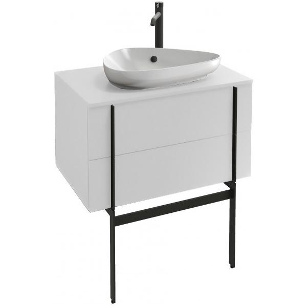 meuble sous vasque nouvelle vague 80cm 2 tiroirs laque blanc