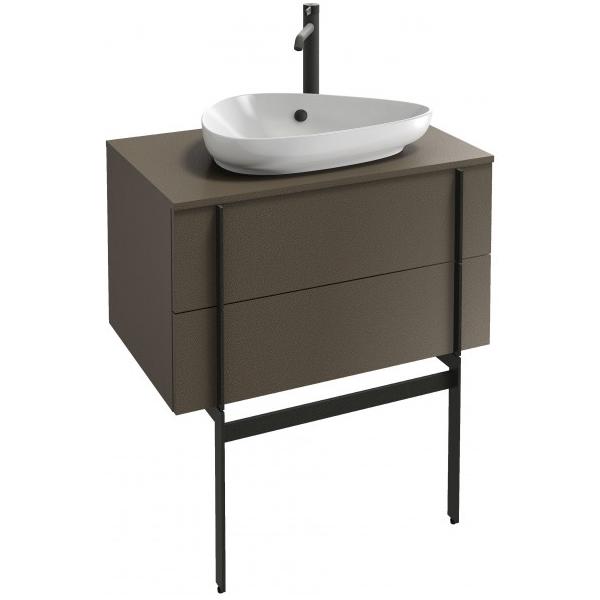 meuble sous vasque nouvelle vague 80cm 2 tiroirs mélaminé cuir taupe