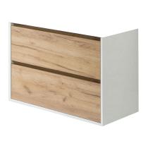 Meuble suspendu Birdie 80cm 2 tiroir Blanc / Chêne rustique - OZE Réf. CAISBIRDIE800