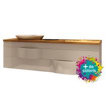 Meuble suspendu Illusion 140cm 2 tiroirs + plan bois ou solid Decor + vasque semi-encastrée à gauche - DECOTEC Réf. 1816381