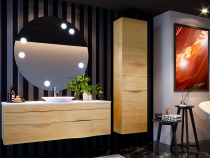 Meuble suspendu Illusion 140cm 2 tiroirs + plan bois ou solid Decor + vasque semi-encastrée centrée - DECOTEC Réf. 1816441