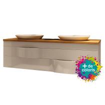 Meuble suspendu Illusion 140cm 2 tiroirs + plan bois ou solid Decor + vasques semi-encastrée - DECOTEC Réf. 1816141