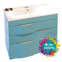 Meuble vasque Illusion 100cm 3 tiroirs + plan vasque céramique - Poignées beige - DECOTEC Réf. 1816191