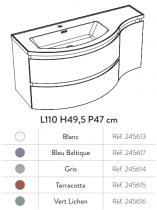 Meuble YLIADE 110cm Vert lichen Mat avec plan vasque - Aquarine Réf. 245616