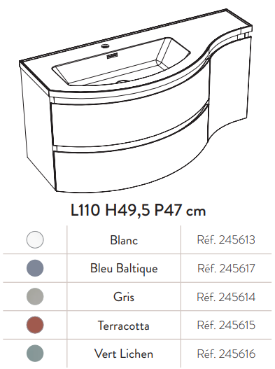 Meuble YLIADE 130cm Blanc Mat avec plan vasque - Aquarine Réf. 245618