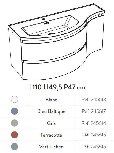 Meuble YLIADE 130cm Gris mat avec plan vasque - Aquarine Réf. 245619
