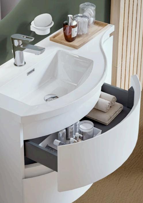 Meuble YLIADE 90cm Blanc Mat avec plan vasque - Aquarine Réf. 245608