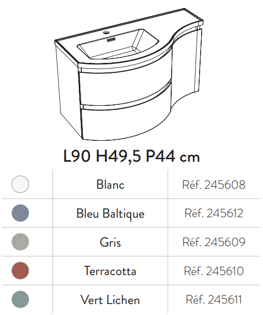 Meuble YLIADE 90cm Terracotta Mat avec plan vasque - Aquarine Réf. 245610