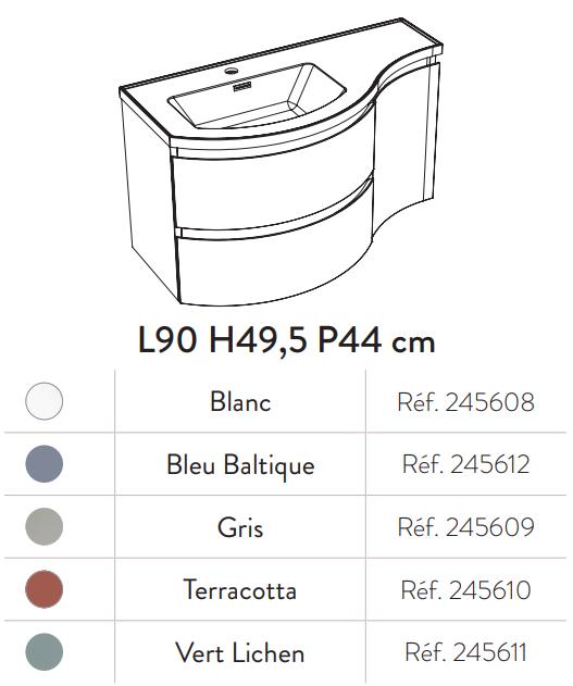 Meuble YLIADE 90cm Vert lichen Mat avec plan vasque -  Aquarine Réf. 245611
