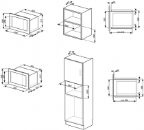 Micro-ondes grill encastrable 20l 800W Inox - SMEG Réf. FMI020X