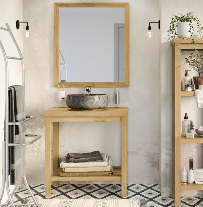 Miroir cadre bois TREMA 80cm Acacia Naturel - Aquarine Réf. 826156