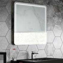 Miroir LED HALLEY 80cm Aluminium avec antibuée et variateur de lumière - AQUARINE Réf. 824946