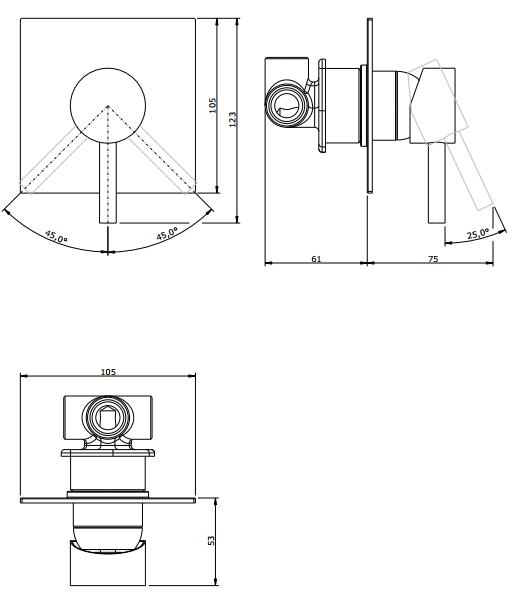 Mitigeur douche à encastrer Tube 3 sorties Chromé - SANINDUSA Réf. 531710111