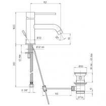 Mitigeur lavabo bec long Cox PVD Acier brossé - PAINI Réf. 78PW211BL