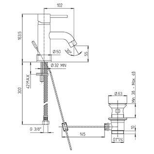 Mitigeur lavabo Cox L PVD Noir brossé - PAINI Réf. 78PZ211