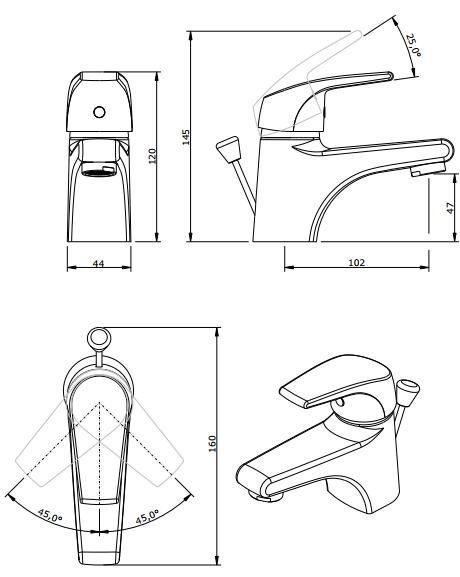 Mitigeur lavabo Easy avec vidage Chromé - SANINDUSA Réf. 536030011