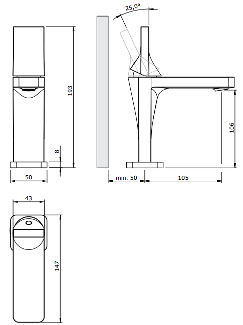 Mitigeur lavabo Line 42 Chromé - SANINDUSA Réf. 555030111