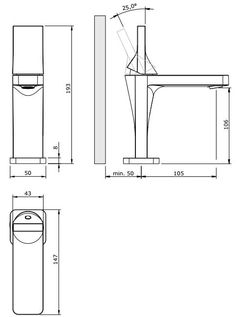 Mitigeur lavabo Line 42 Cuivre - SANINDUSA Réf. 555030196