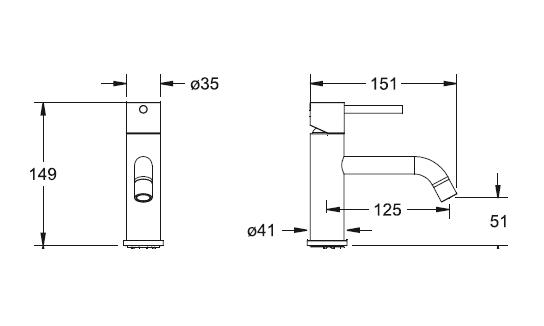 Mitigeur lave-mains Chromé - DECOTEC Réf. 143000100010