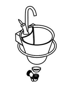 Pack lave-mains Decotec Cône Ø29.7cm avec mitigeur, porte-serviettes, bonde et siphon