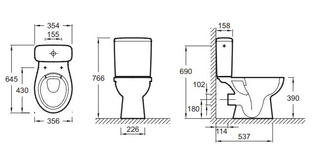 Pack WC à poser Patio sans bride sortie horizontale avec abattant Blanc - JACOB DELAFON Réf. E20208-00