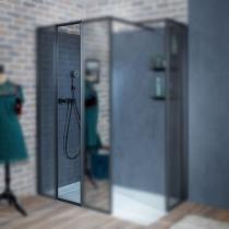 Panneau 40cm pour paroi fixe Nouvelle Vague à composer verre teinté profilé Noir inimitable - JACOB DELAFON Réf. E94WI40-VTG