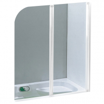 Pare-bain 2 volets 120cm verre transparent profilé Blanc - OZE Réf. PRB2