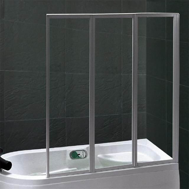Pare-bain 3 volets 140cm verre transparent profilé Chromé - OZE Réf. PRB3VTC