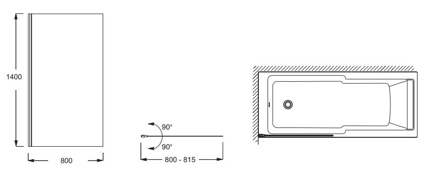 Pare-bain Struktura 80cm Verre transparent profilé Noir - JACOB DELAFON Réf. E6D042-BLV