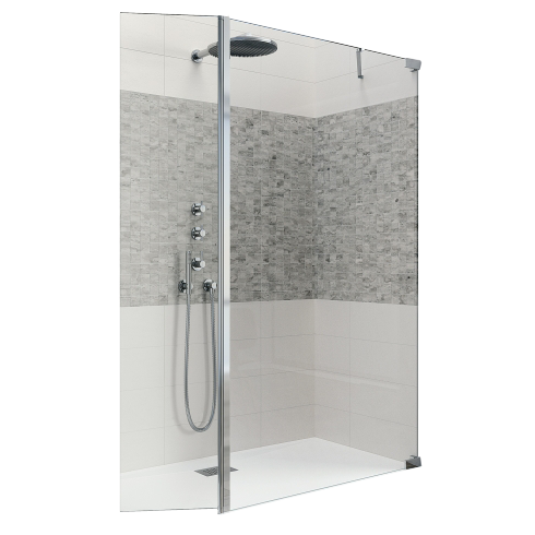 paroi de douche kinequartz querres duo 110 40cm droite barre de renfort verre transparent. Black Bedroom Furniture Sets. Home Design Ideas